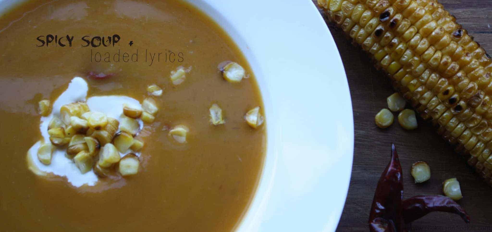 pumpkin soup, corn, chillis, mexican soup